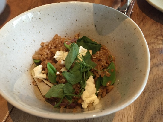 Blue bird farm farro, asparagus, snap peas, pea tendrils, house made ricotta cheese