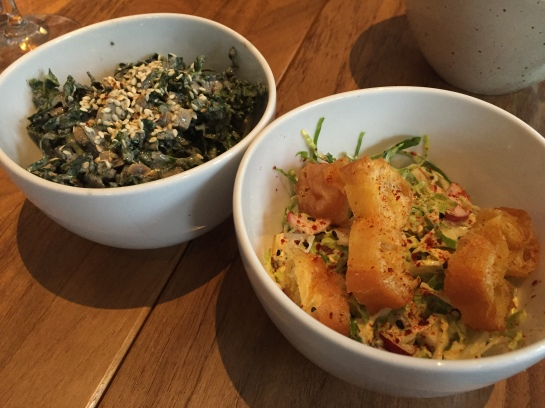 Kale Salad, black sesame yogurt, sunflower seeds, almonds, apple - Shaved Brussel Sprouts Asian Caesar, togarashi with Chinese donuts