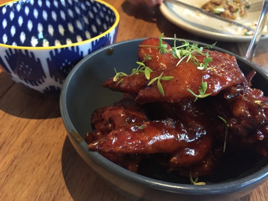K.F.C. (Korean Fried Chicken wings), pumpkin seeds, Korean chili sauce